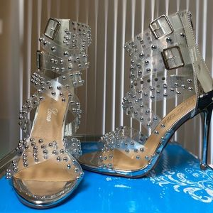 BNIB Silver Studded Clear Strappy Stilettos